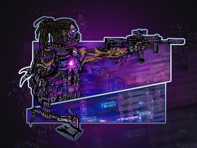 Cyber soldier print military army neon light photoshop illustration soldier cyberpunk