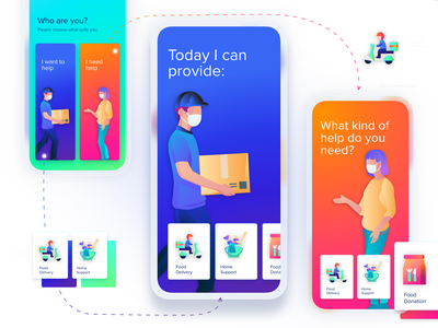 COVID 19 Helper App   Help or Request Selection crowdsourcing request help food donation food delivery service volunteering helper foodie donation app food delivery delivery app application ux ui prototype grocery app covid19 pandemic shopping app concept dailyui