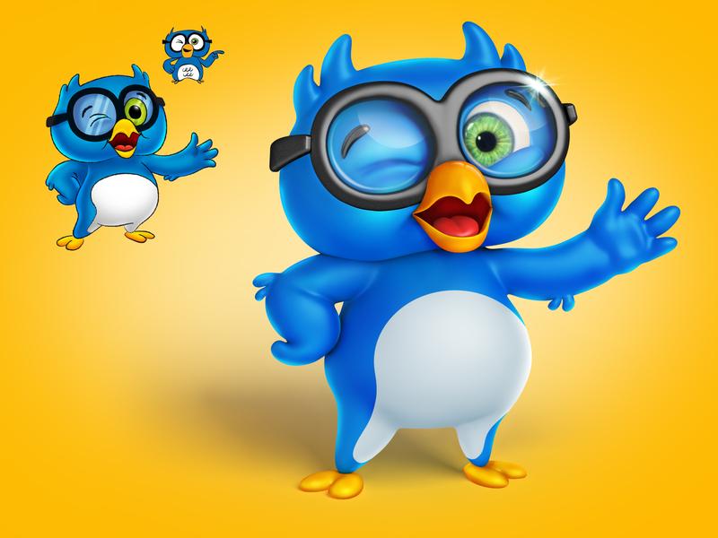 Oscar Blu mascot photoshop 3dsmax zbrush brand identity mascot design character design illustration