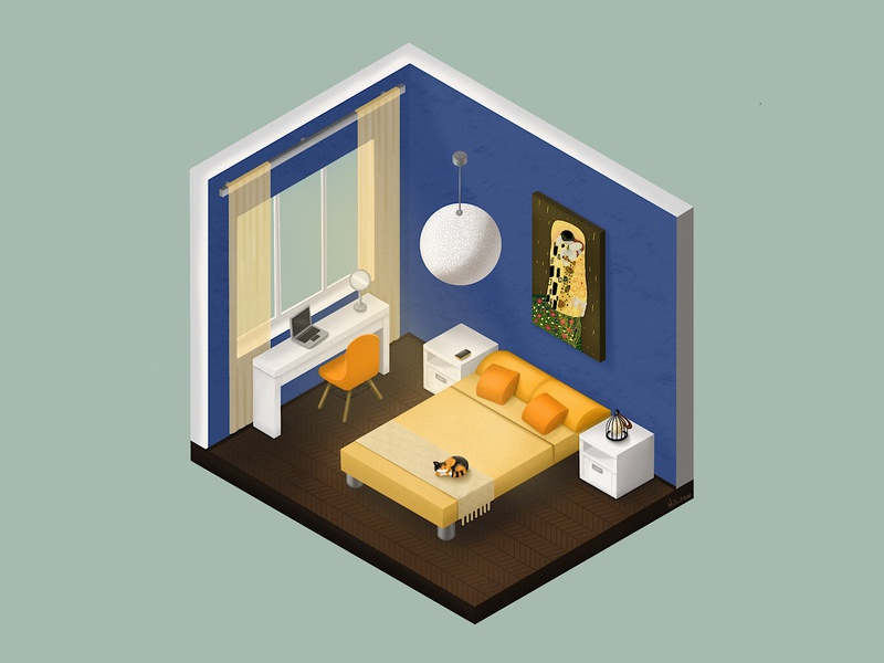 Bedroom klimt bedroom design bedroom procreate illustraion isometric isometric illustration isometric design isometry