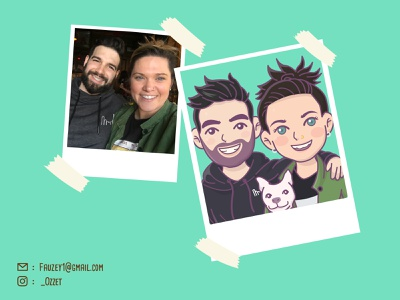 Cute Couple Avatar custom people cartoon character cute caricature cute cartoon vectorface illustration custom avatar cartoon caricature avatar personal avatardesign avatar adobe illustrator cute