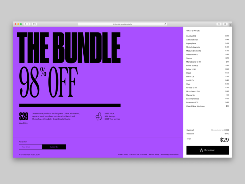 The Bundle – Website app elements gui ios templates ui kit readymag web design website