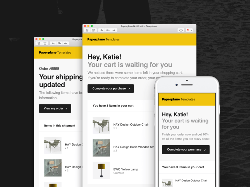 Paperplane – Part of The Bundle shopify figma adobe xd mailchimp html sketch email templates