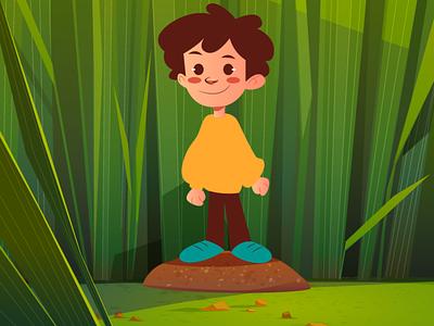 Nature et enfant vector graphic design illustration
