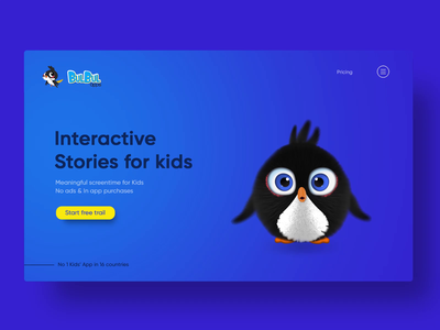 Kids learning app - Website Landing Page minimal web ux ui preschooler learning kids interface interaction illustration icons graphics education design character animation bird