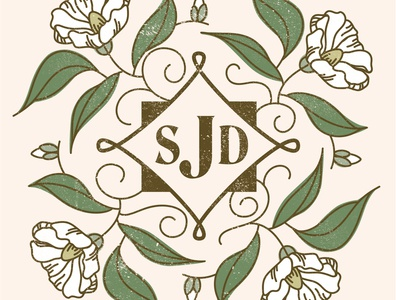 Gardenia Monogram vector design illustration