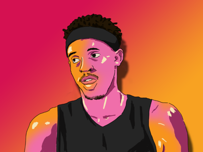 Spicy P warm gradient sketch minimalistic minimalist red drawing draw photoshop adobe illustration siakam raptors toronto ball basketball
