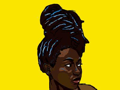 Queenie queen minimal minimalist design graphic sketches sketch draw melanin brown black yellow digital photoshop illustration woman girl girls
