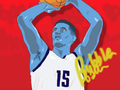 Jokic colour vivid blue red sport games europe serbia sketch drawing art ball photoshop illustration nba