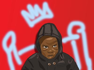 Young King digital art graphic minimal crown boy black sketch drawing photoshop illustration illustrations art red royal youth king