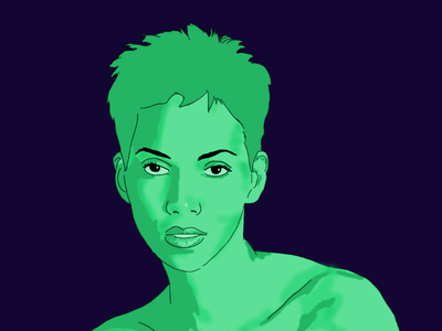 Halle characters drawing graphic art digital art photoshop illustration film actor actress
