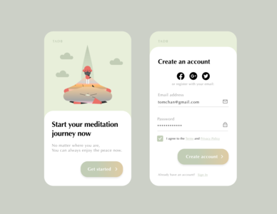 Daily UI #1 — Sign Up designs uidesign meditation mobile ui singup ui