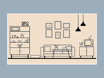Room illustration design room flat illustration flat design art ui vector flat illustration