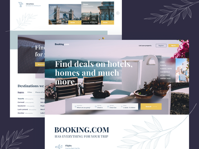 Landing page redesign | Booking.com main page traveling travel ux ui webdesign website web landing page landing