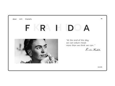 Frida Kahlo typography design website webdesign ui ux ui design ui web artist art