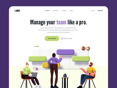 Temng Website service team management teamwork team 3d illustration website web ux ui typography design clean branding