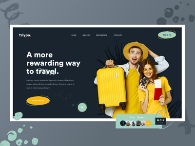 Triypo. - Travel Website (Header Exploration) landing page header exploration travel service travel agency travel header design agency header website web ux ui design clean