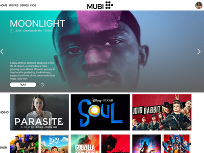 Mubi Home page web mockup ui