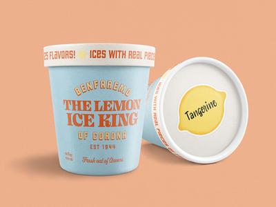The Lemon Ice King of Corona graphic design retro vintage ice cream packaging branding