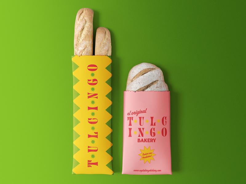 Tulcingo Bakery stamp design colorful brand identity bakery adobe illustrator packaging branding graphic design