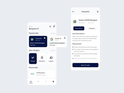 Job Finder App job finder mobile app design job finder ux ui uiux