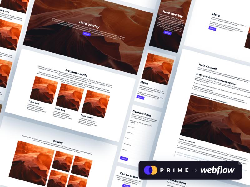 Prime + Webflow Layout Templates web layout webdesign styleguide ui kits ui kit sketch app sketch webflow design system prime