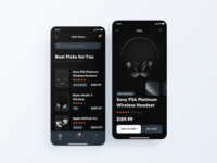 Dark Theme - Music Shop App dark ui dark mode cart store music case study black ux ui ios mobile dark theme shop ecommerce