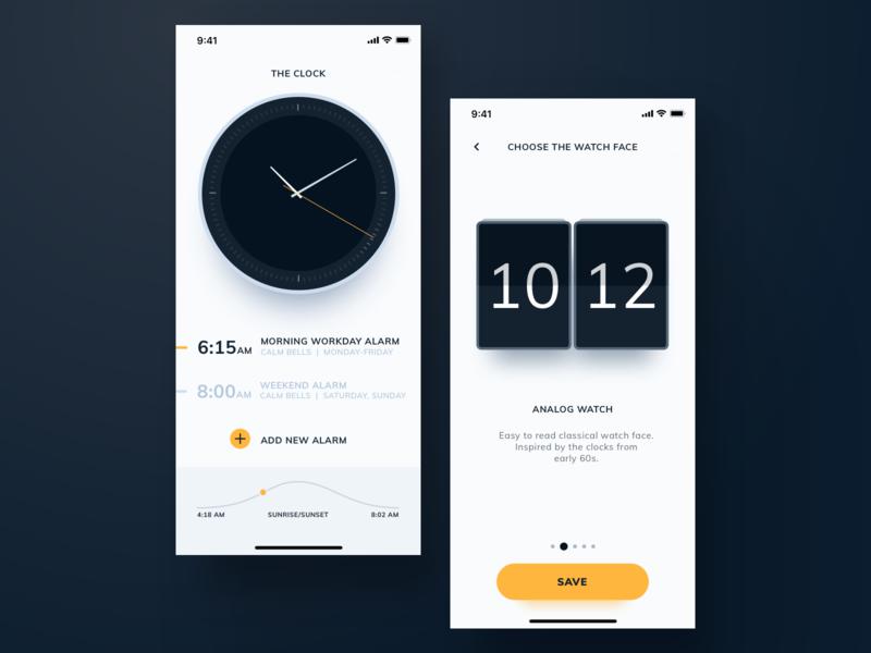 AEON - Clock App clean minimalistic orange black white iphone ios watch alarm timer time clock