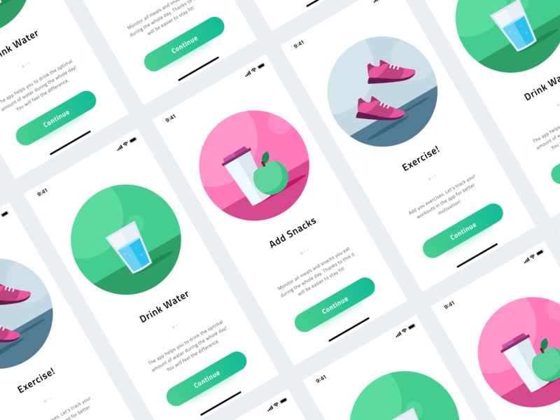 Onboarding - Health & Fitness App onboarding pink green iphone xr iphone xs ios illustration health app sport fitness fit health