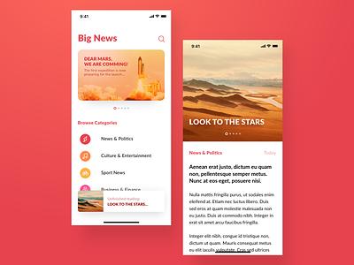 News App news app red orange stars book ios media social feed medium reader news