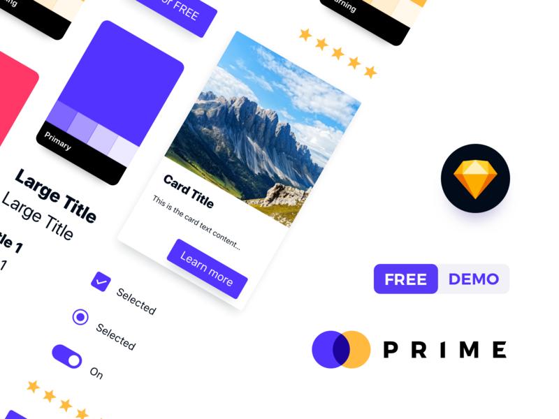 Prime Design System FREE Demo mobile app design web  design sketch app ui library style guide purple dashboard design design system ui kit