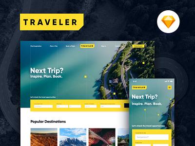 Traveler Web & Mobile Concept journey booking trip travel web web design yellow ui kit design system prime