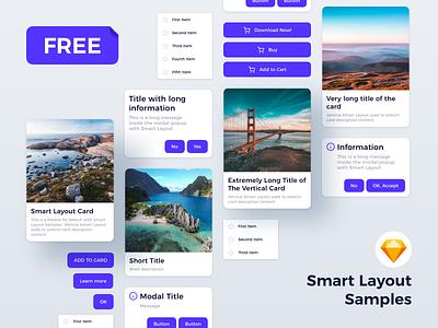 Sketch - Smart Layout Samples popup card button ui kit ui library sketch app freebie smart layout sketchapp sketch