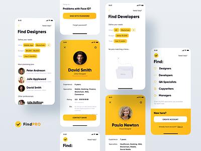Freelance Platform - iOS App profile contact mobile crm hire designer freelance yellow app ios
