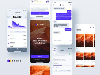 Prime 2.0 - Mobile Library dashboard design sketch purple ui kit design system style guide ui library sketch app web design mobile app design