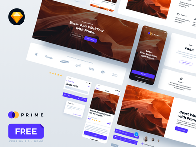 Prime 2.0 - FREE Demo of Design System Kit freebie web design ui library ui kit style guide sketch app purple mobile app design design system dashboard design