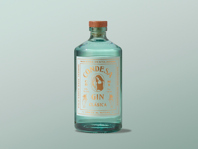 Condesa Gin custom type typography illustration mexico city brand identity branding package design gin liquor spirits packaging