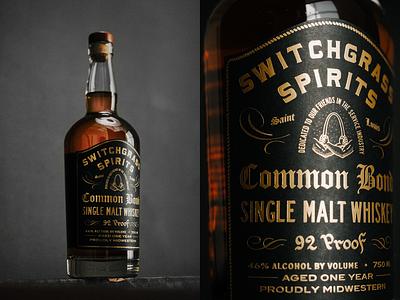 Common Bond Single Malt Whiskey x Switchgrass Spirits packaging design liquor brand spirit label print branding typography type