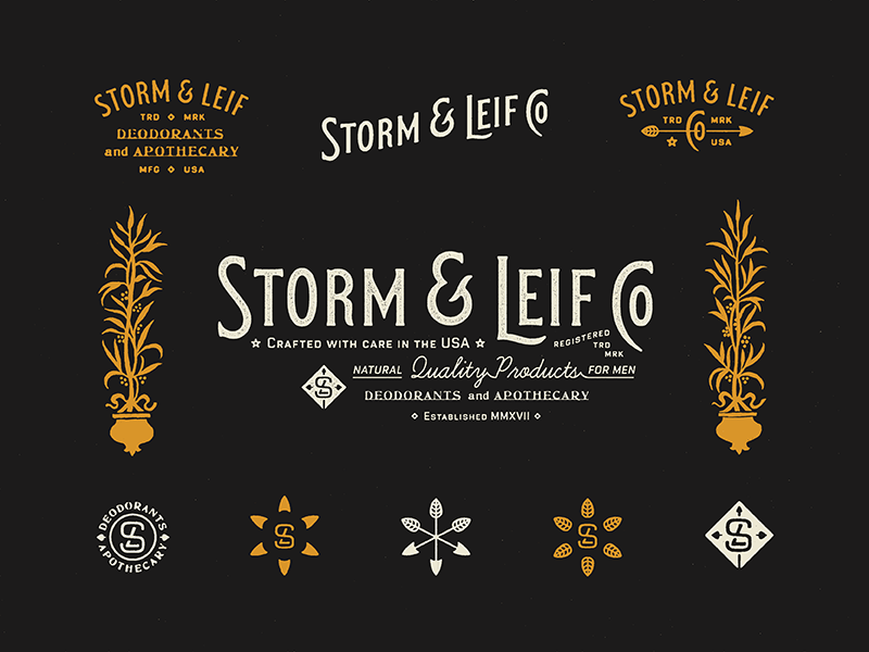 Storm & Leif Co Brand outdoors icon process illustration logo typography badge stamp type branding marks