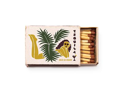 EF Matchbox matchbook matches color tropical tequila bar graphic print branding illustration