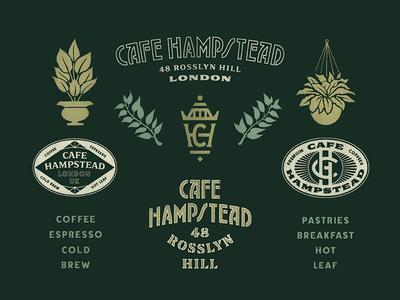 Cafe Hampstead Brand plants color seal stamp london cafe illustration typography type marks logo brand