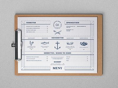 Gressholmen Kro Menu typography type illustration restaurant design menu norway