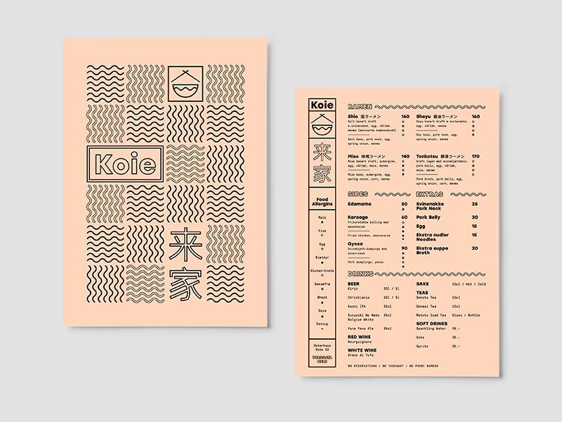 Koie / Menu ramen print restaurant typography type branding menu