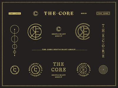 The Core Restaurant Group / Brand Specimen badge seal stamp typography monogram restaurant brand branding logo marks
