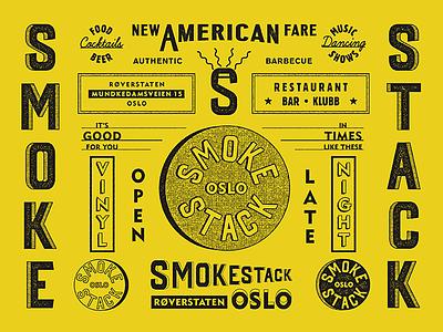 Smokestack, Oslo / Brand Specimen graphic branding restaurant bar color seal badge typography type marks