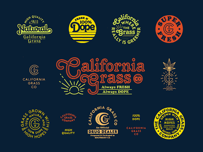 CGC Brand california weed cannabis color typography type vintage badge branding