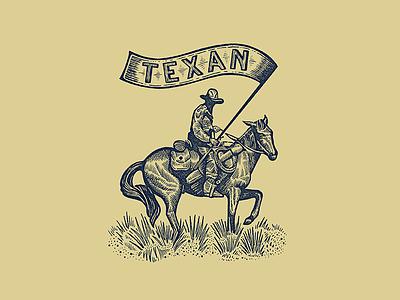 TEXAN cowboy western texas drawing line drawing ink hand drawn illustration print