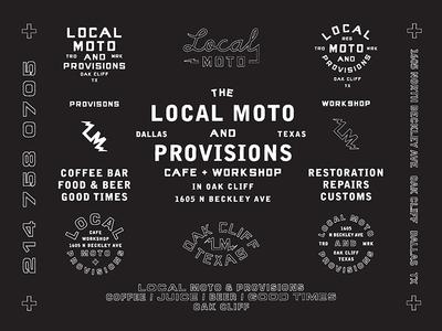 Local Moto marks typography type motorcycle workshop cafe moto branding