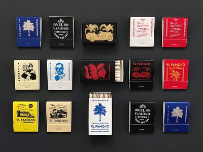 EF Matches tropical vintage illustration typography type matchbooks matches