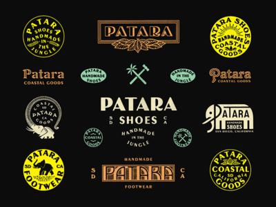 Patara Brand brand design branding marks elephant shoes jungle typography type